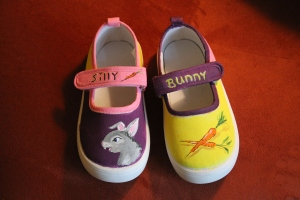 Hand painted shoes for kids Bunny Shoes