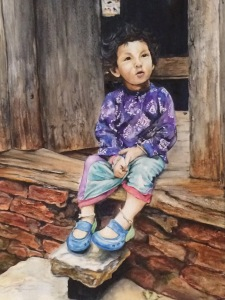 Watercolor painting girl from Nepal