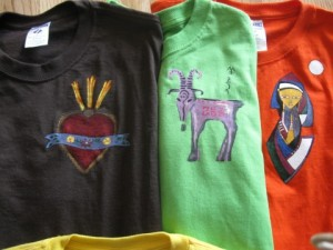 Hand painted t-shirts using acrylic