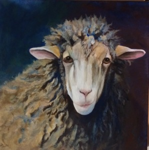 Acrylic painting of a blue sheep