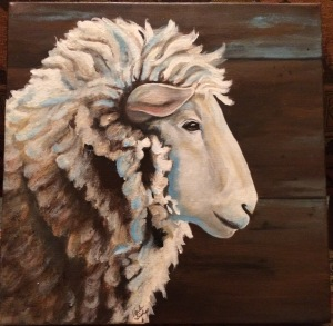 Acrylic painting of a sheep