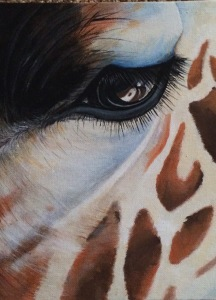 Acrylic painted giraffe on canvas board