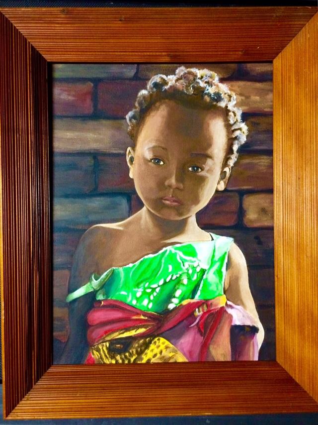 "Malawi Girl. 11""x16"" acrylic"